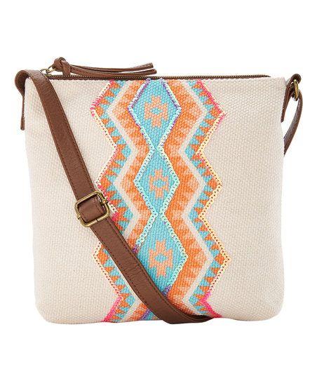 T-Shirt & Jeans Handbags Natural Sequin Chevron Crossbody Bag | zulily