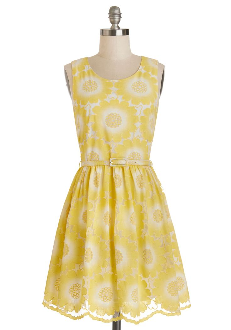 Soiree of Light Dress. Delightfully dressed in this yellow floral dress by Yumi, you seem to illuminate the entire room! #yellow #modcloth