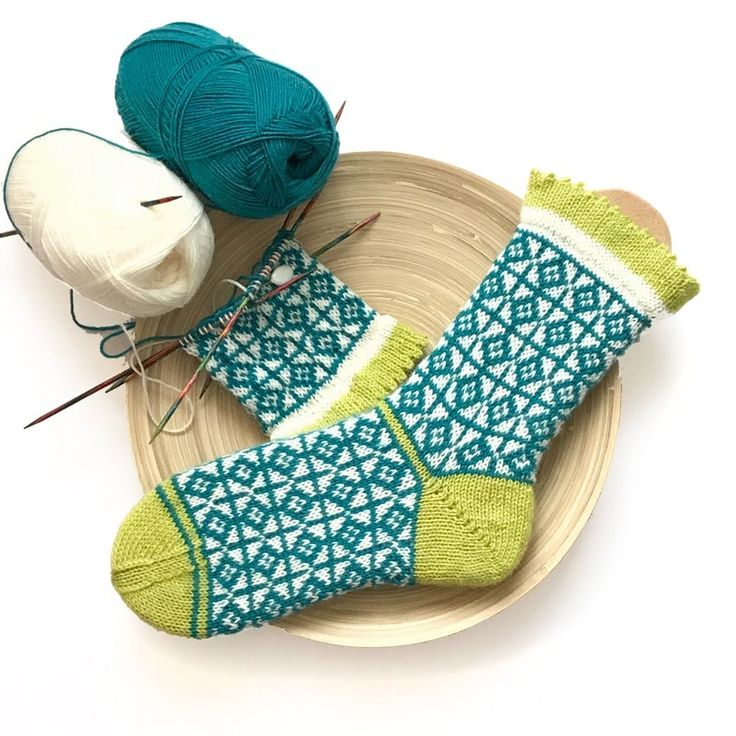 handgestrickte Socken mit geometrischem Muster & Picot-Bündchen – Gr. 38/39 | eBay