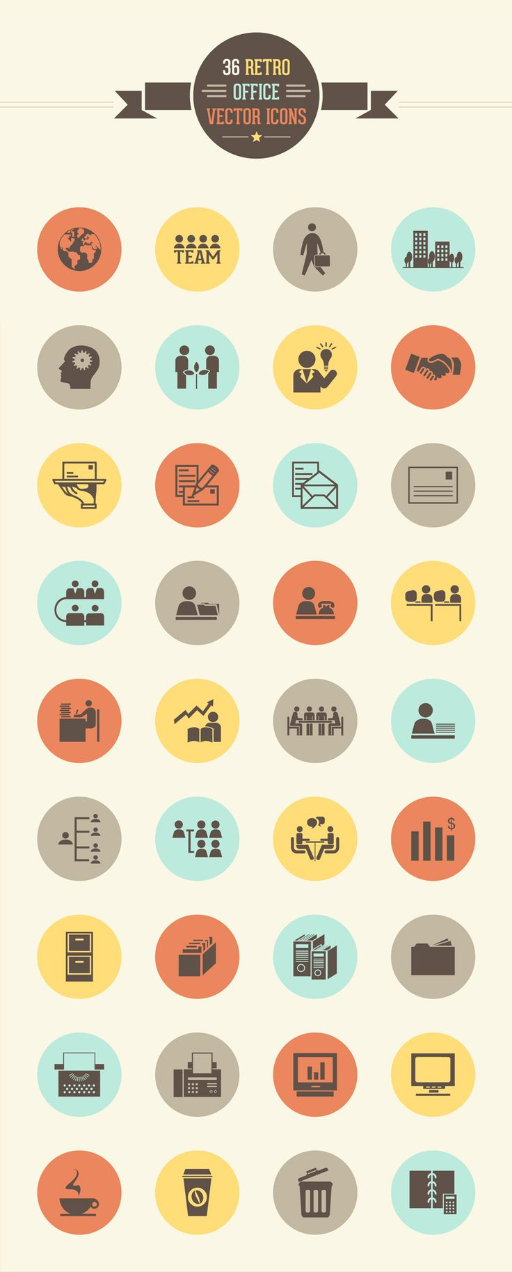 36 Retro Office Vector Icon Set – Freebie No:159