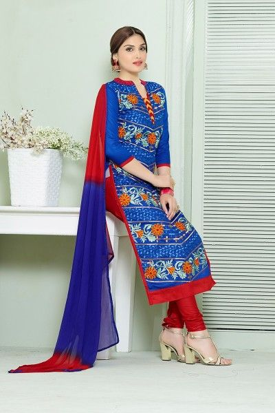 BLUE & MULTI EMBROIDERED COTTON STRAIGHT SUIT #SalwarSuit #BuySalwarSuitsOnline #DressesOnlineShopping #SalwarSuitsOnlineShopping http://www.thankar.com/store/salwar-suit/