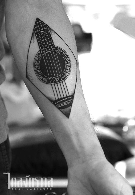 Klai Jakkawan Tattoo Studio / Design by Wanpracha / Tattoo by Armata #guitartattoo #guitar #tattoo #bangkok #thai #thailand