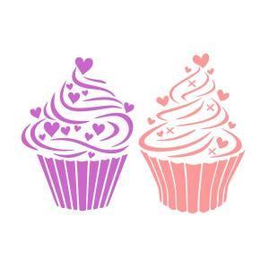 Cupcake Hearts SVG Cuttable Design