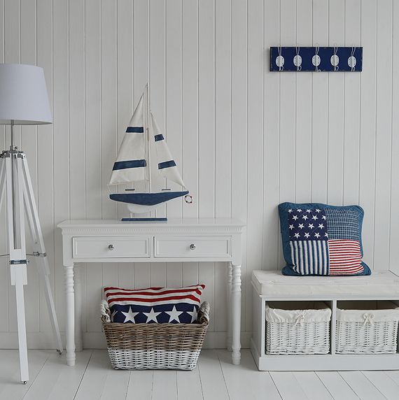 New England style hall with stars and stripes. Decorating ideas for your hall from The White Lighthouse. Ideas for decorating a white beach hall in a coastal style white home. Hallway furniture for homes in coastal, Scandi, New England and French styles