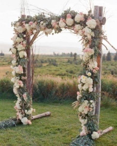 Wood Arch Decorations Ideas: Lush Floral Rustic, Outdoor Summer Wedding Arch