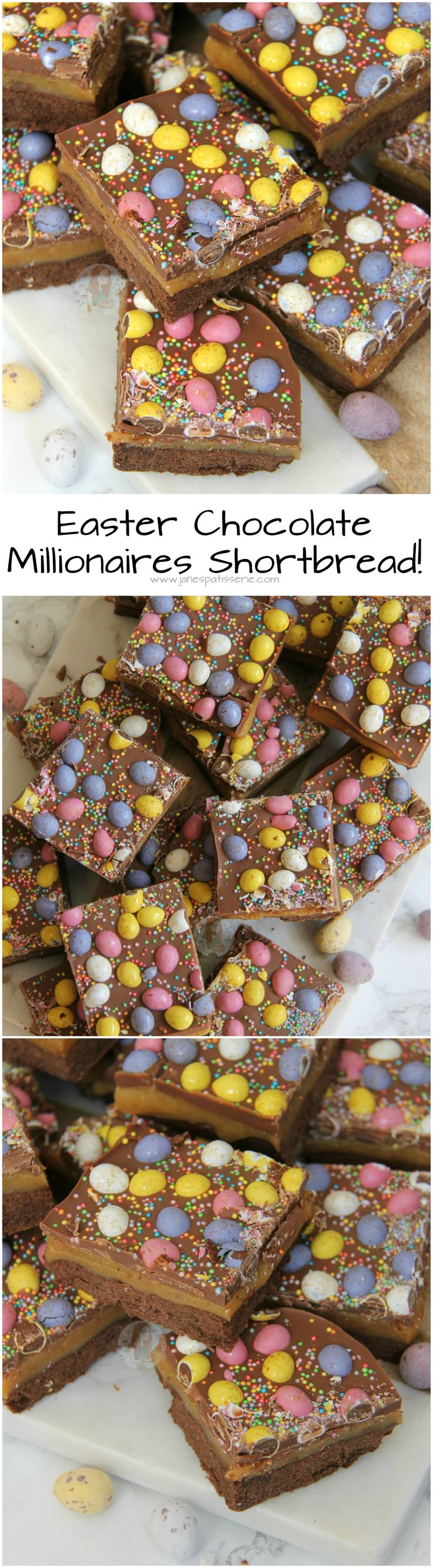 Easter Chocolate Millionaires Shortbread! ❤️ Buttery Chocolate Shortbread, Homemade Caramel, Milk Chocolate, and Micro Mini Eggs make the most delicious Easter Chocolate Millionaires Shortbread!