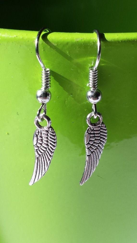 Boucles d'oreilles ¤ Breloque en forme d'ailes
