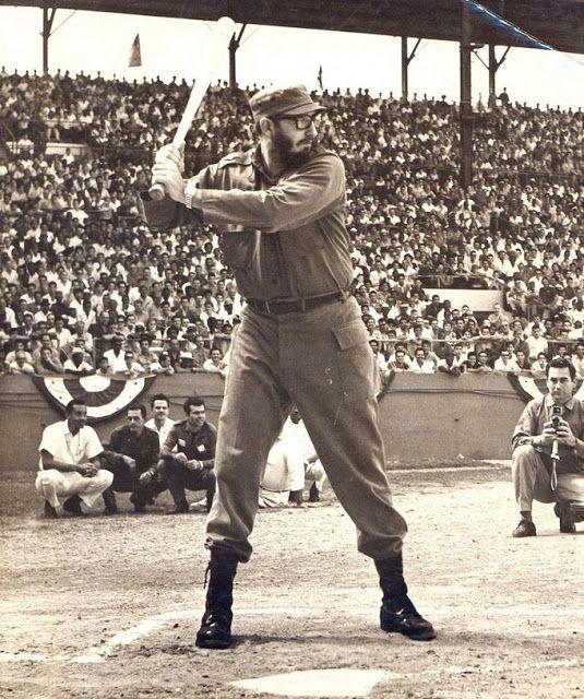Fidel Castro plays baseball in Havana, 1959