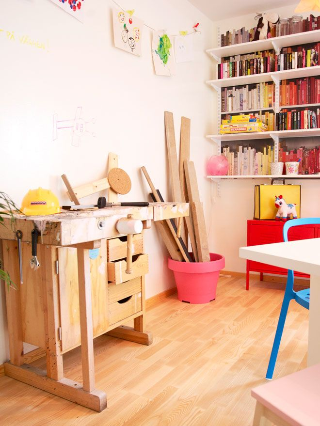 colorful workspace, via dos family