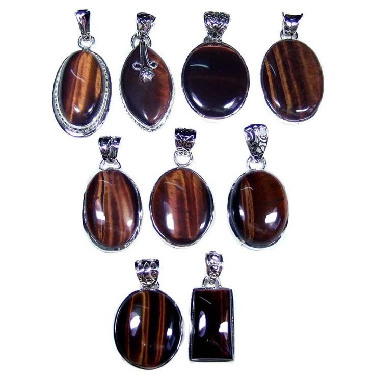 Silver Jewelry Pendants Lot With Red Tiger Eye Gemstones  Price $USD   285  Weight 250 gms