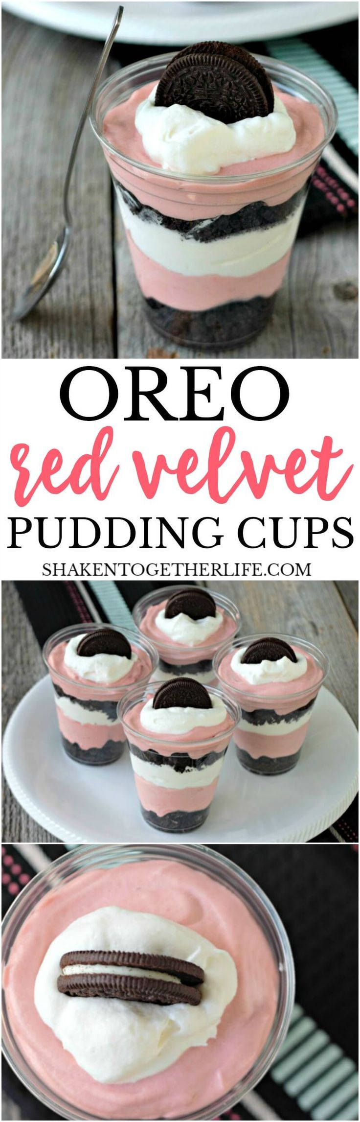 Oreo Red Velvet Pudding Cups - layers of crushed Oreos, creamy red velvet pudding mousse and whipped cream make up this easy no bake dessert!