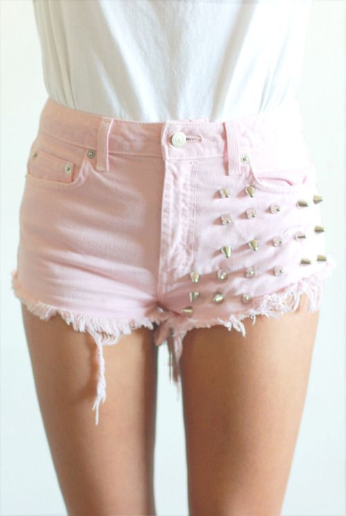 shorts studded shorts pink studs pants rosa cute spikes baby pink high