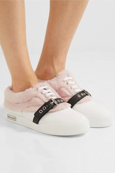 Miu Miu - Buckled Shearling And Leather Sneakers - Pink - IT