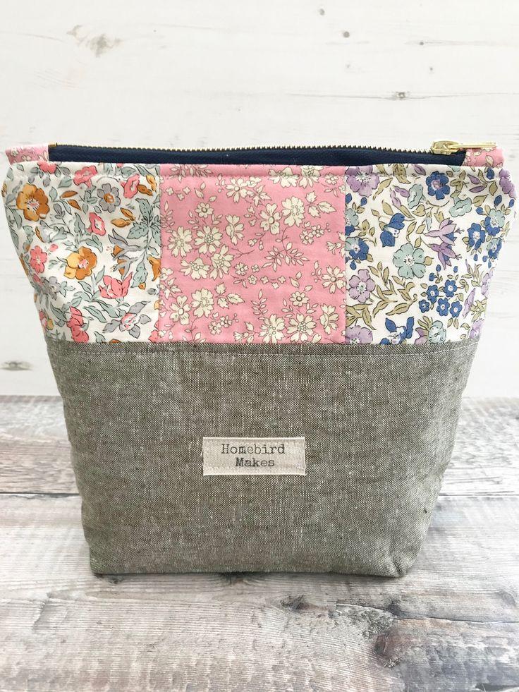 Liberty bag, Make up bag, Project bag, Liberty English Garden fabric, Cosmetic storage, Liberty of London, Zipper bag, Hobby bag