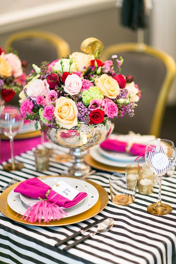 Ideas for styling your wedding reception - Stripes and bold blooms  - Kate Spade…
