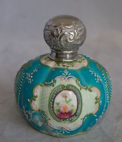 1908-London-Sterling-Silver-Capped-Hand-Painted-Asian-Perfume-Vanity-Bottle