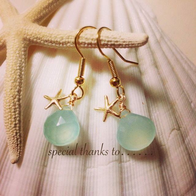 ☆再販☆green blue chalcedony × starfish by cocosalt アクセサリー ピアス