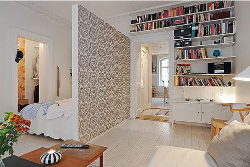 Small Apartment Ideas for more space.  Love the wall divider.. makes a bedroom into 2 rooms.