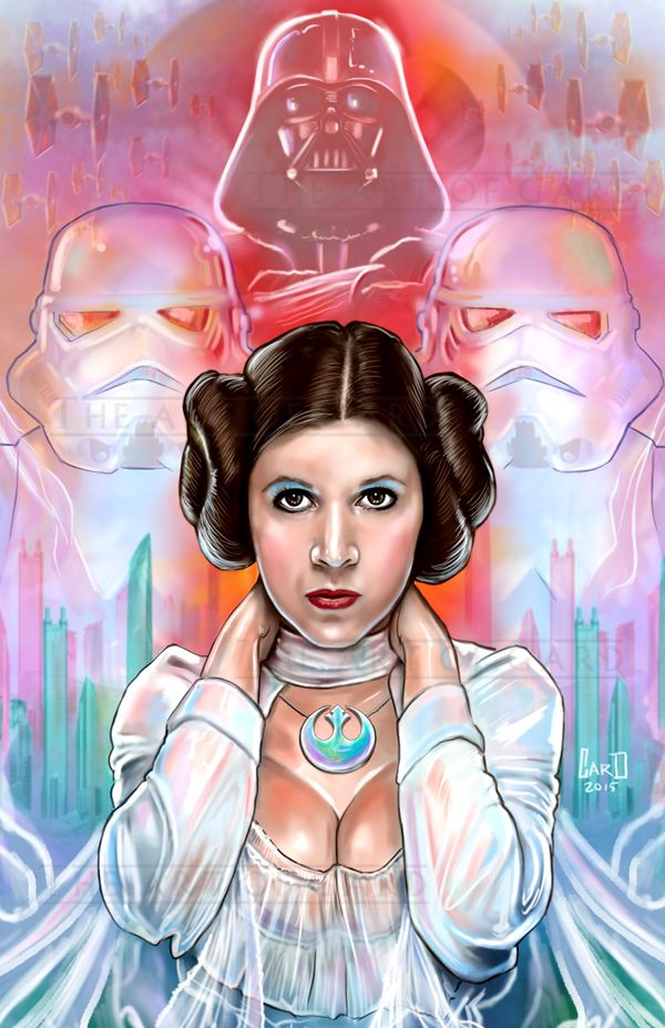 This is my own interpretation of Princess Leia Organa on Star wars Episode 4. This print is also signed by me.