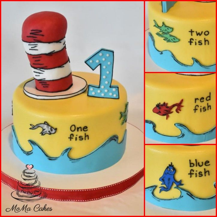 Pleasing Cat In The Hat Dr Seuss Cake And Cupcakes First Birthday Cake Funny Birthday Cards Online Aeocydamsfinfo