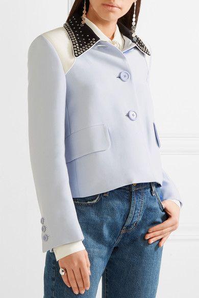 Miu Miu - Crystal-embellished Cady Jacket - Sky blue - IT36