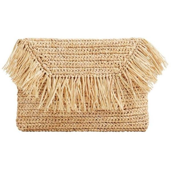 MANGO Straw clutch found on Polyvore featuring bags, handbags, clutches, magnetic purse, fringe handbags, beige purse, fringe clutches and metallic clutches