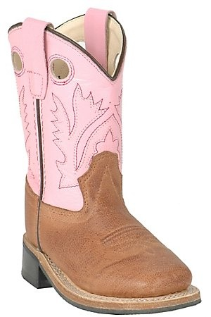 Found My girls Christmas present! Old West girls distressed Brown and Pink Square Toe Western Boots
