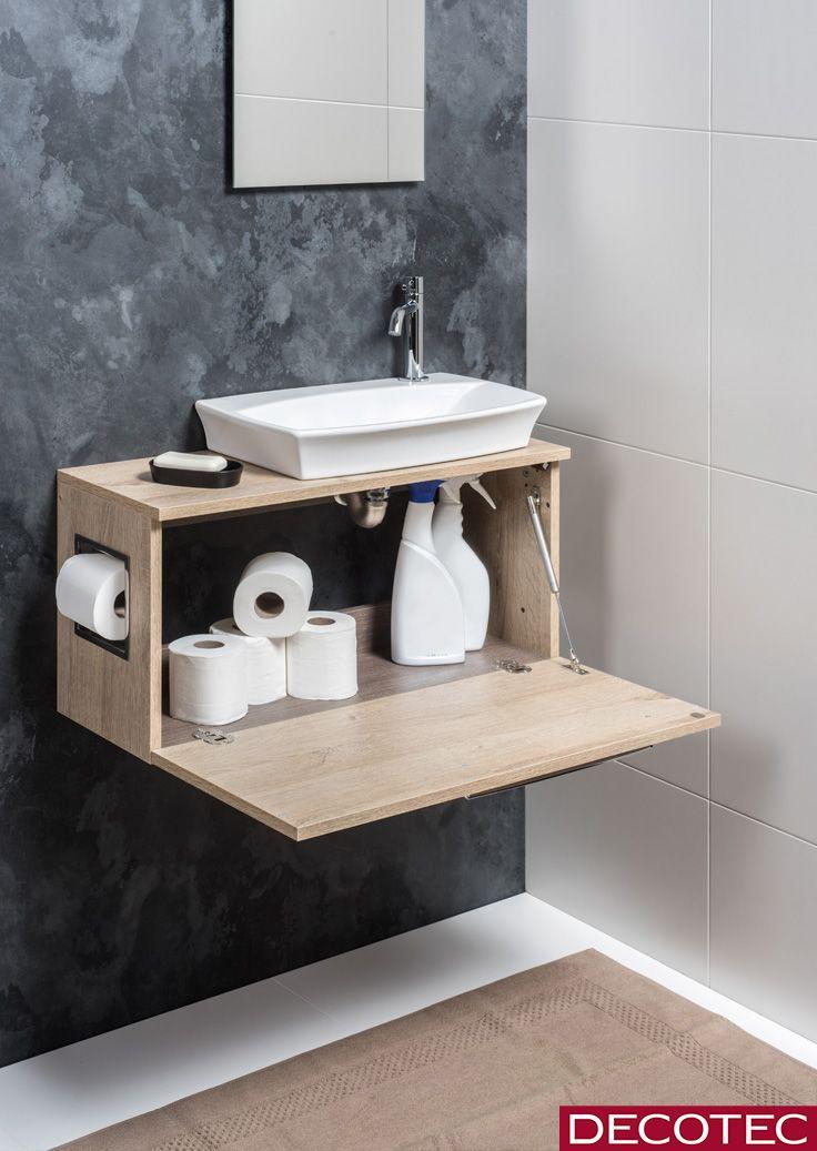 Lave Mains Design Esquisse 70 Cm Decor Bois Chene Vanille Version Courte Et Vasque En Ceramique L Lave Main Design Decoration Toilettes Idee Deco Toilettes