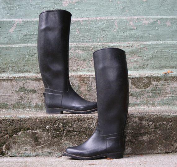 70s Rain Boots Black Rubber Equestrian Riding Boots 6