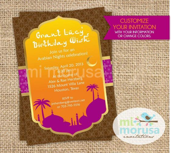 17 best Arabian Night Invitation Ideas images on Pinterest