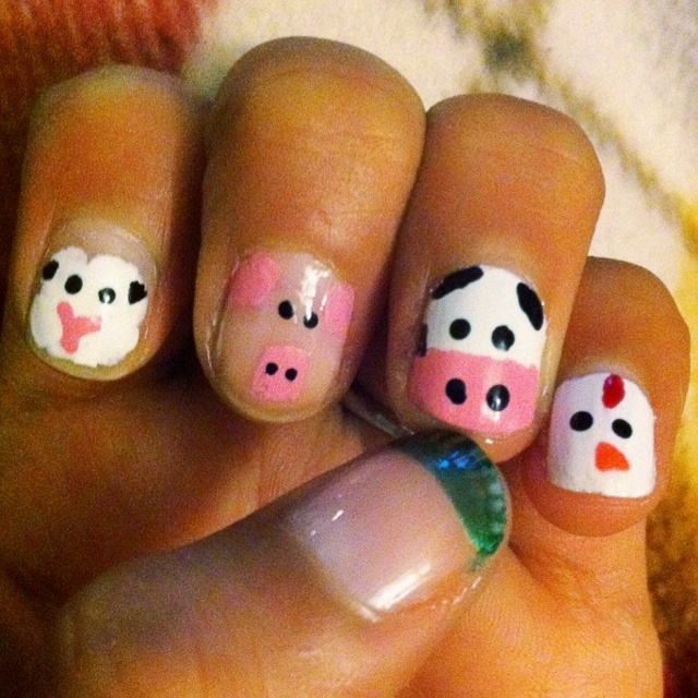 Farm animals--and the thumb feeds the fingers