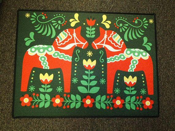 Scandinavian Swedish Dala Horses Rug Door by GiftChaletAuburn