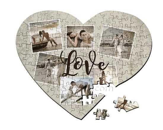 Puzzle cuore A3 Crazy collage