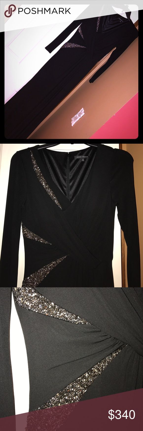 David Meister Black Long-sleeves Gown Beautiful black gown by David Meister. Beautiful embellishment as pictured. Size two and fits true to size. Worn only once and gently cleaned. David Meister Dresses Long Sleeve