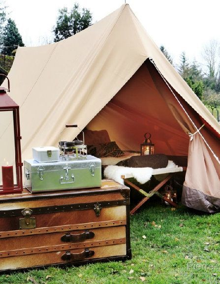Glamping tent with dresser chest