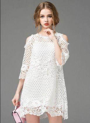 Little White Dress-----------------------------Polyester Solid 3/4 Sleeves Mini Vintage Dresses