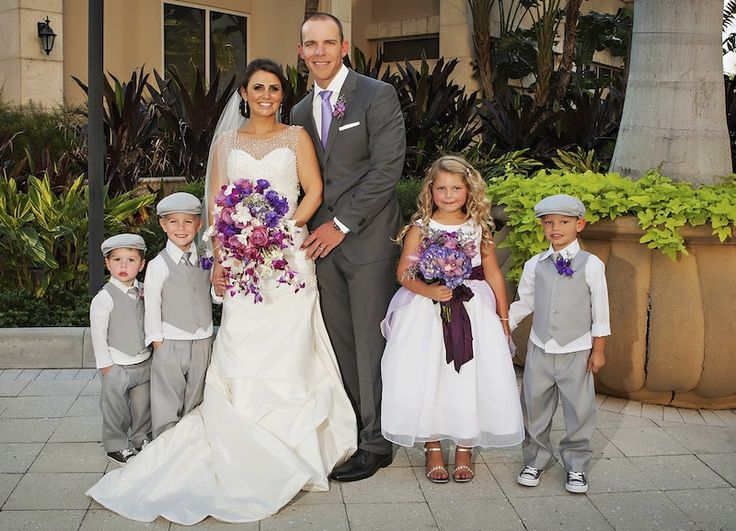 GRO Floral and Event Design | Color Me Purple: Allison & Ryan Purple wedding party flowers, sweet ring bearers and flower girl