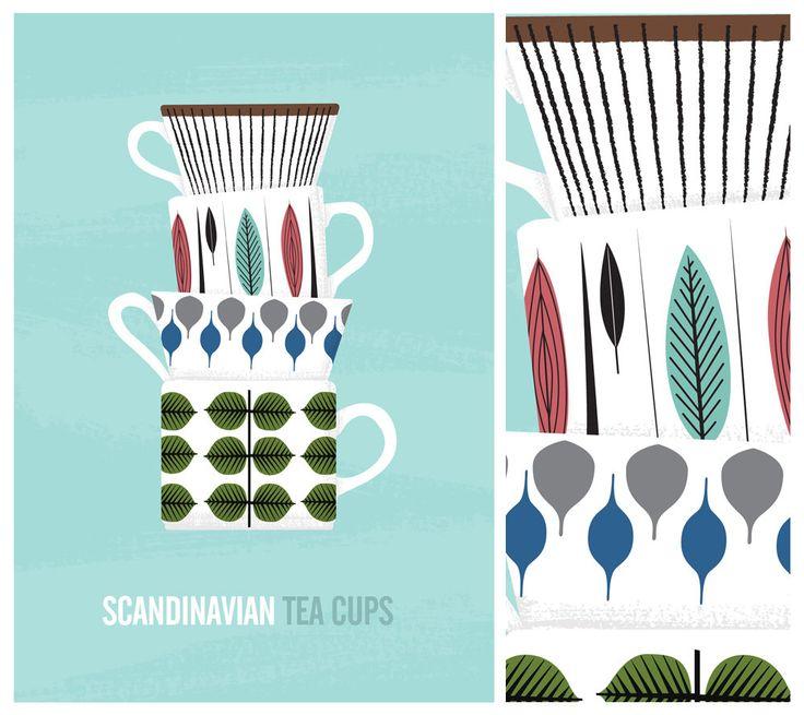Kitchen art print, scandinavian design, Stig Lindberg.