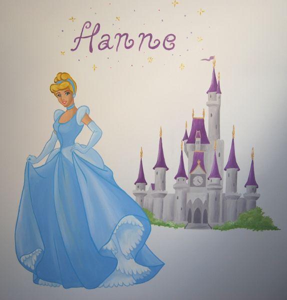 Muurschildering Assepoester met kasteel