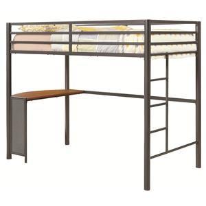 bunkstwinmetalworkstationloftbed - Metal Frame Loft Bed