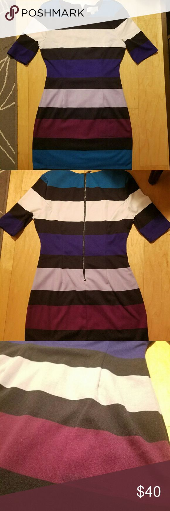 """3/4 Sleeve Striped Party Dress This dress is perfect for a winter party! It's a bit short for me (I'm 5'5"""") but wore with black leggings. Slight discoloration in one of the stripes (see photo) but is not noticeable unless you look closely. Jessica Simpson Dresses Mini"""