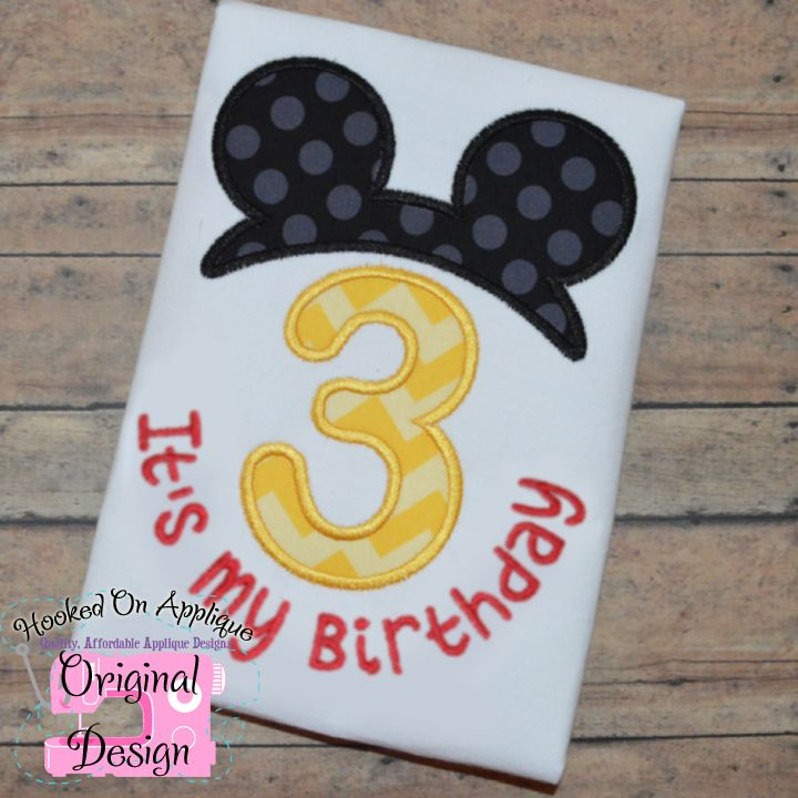 Mickey Mouse Birthday Applique Hooked On Applique