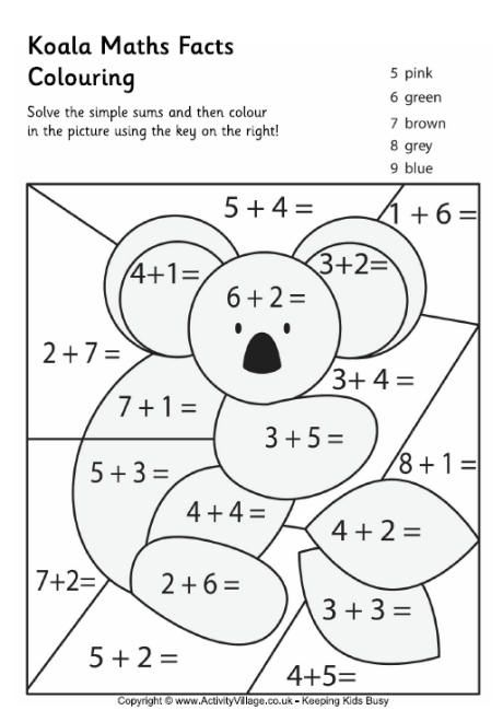 Koala Maths Facts Colouring Page