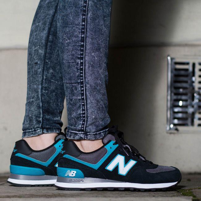 Buty damskie sneakersy New Balance WL574AAB - CZARNY/TURKUSOWY