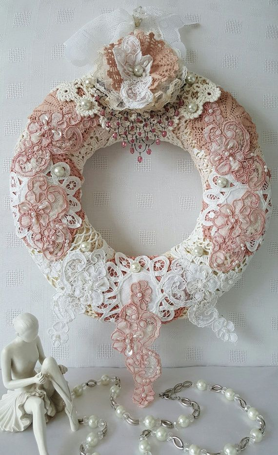 Wreath  Shabby Chic Wreath  Vintage Wreath  by Chiclaceandpearls