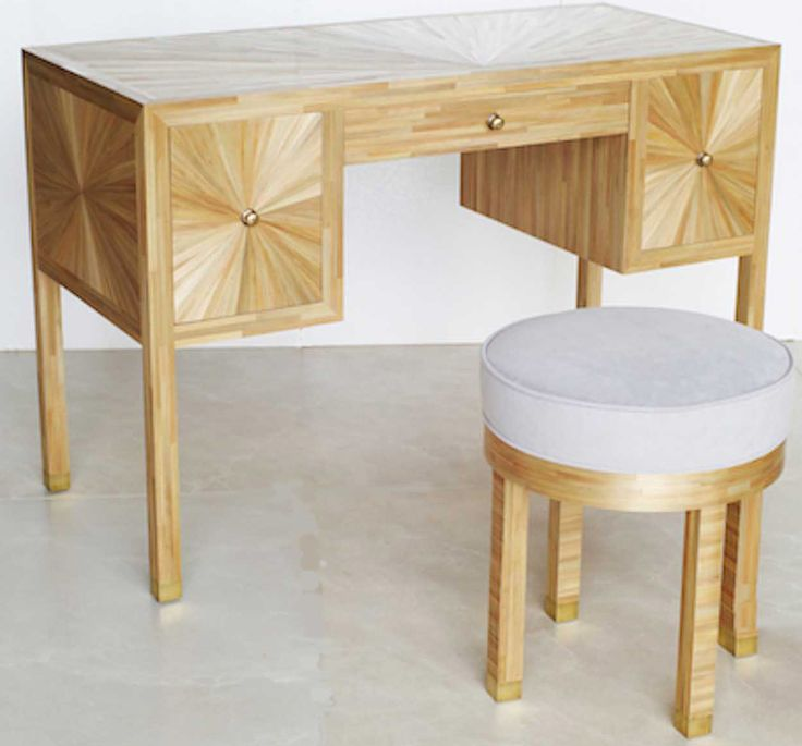 Straw Marquetry Dressing Table and Stool