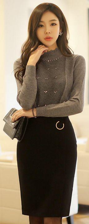 StyleOnme_Gold Ring Detail Wrap Style Pencil Skirt #black #pencilskirt #winter #officelook #formal #elegant #feminine #koreanfashion #seoul #kstyle #kfashion #skirt