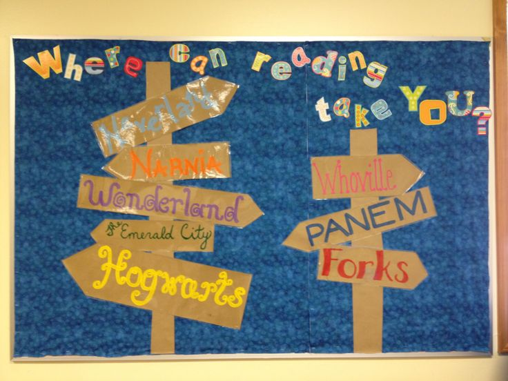 Where Reading Takes You Library Bulletin Board Idea . . . COOL! Could do an area on settings throughout the year. Students add arrows with the settings of their IR books, any read alouds, book club books, etc.
