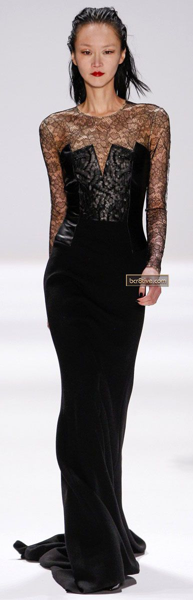 Never imagined lace and leather to be this elegant together - Carmen Marc Valvo FW 2013-14 NYFW