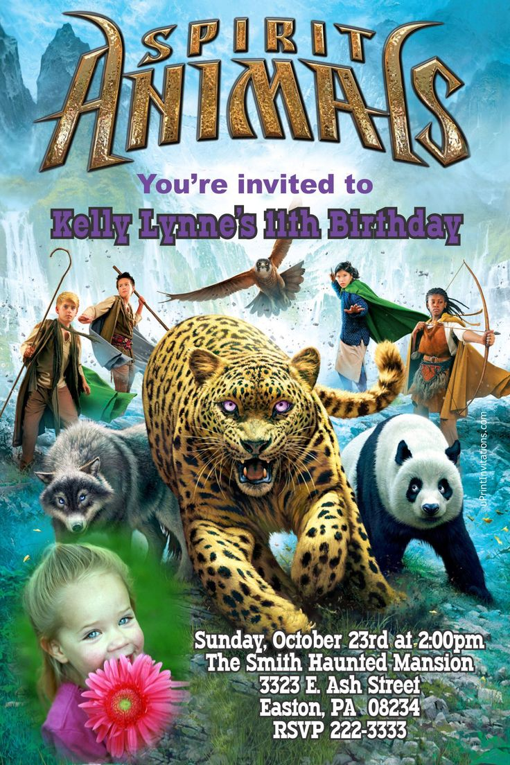 Spirit Animals Book Birthday Invitations - Digital Download - Get these invitations RIGHT NOW. Design yourself online, download JPG and print IMMEDIATELY! Or choose my printing services. No software download is required. Free to try